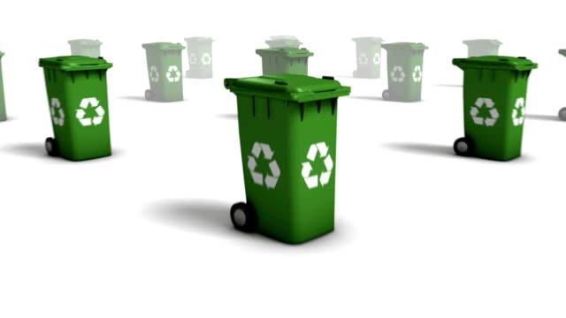 Dolly back diagonally from single Recycle Bin revealing many video