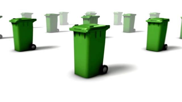 Dolly back diagonally from single Trashcan revealing many (Green) video