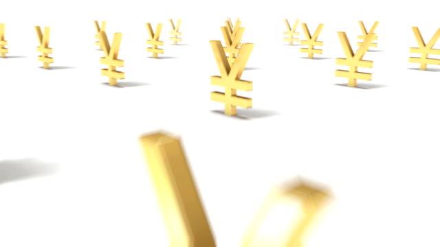 Dolly back diagonally from single Yen Symbol revealing many video