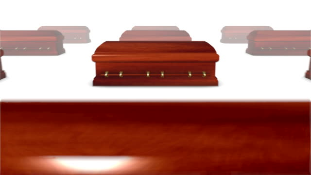Dolly back revealing many Coffins (wood) video