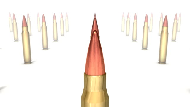 Dolly back revealing many Rifle Bullets video