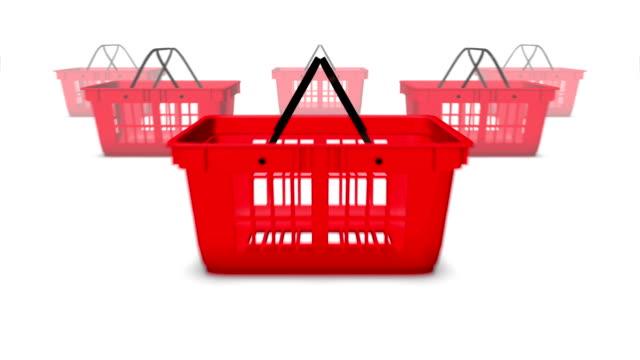 Dolly back revealing many Shopping Baskets video