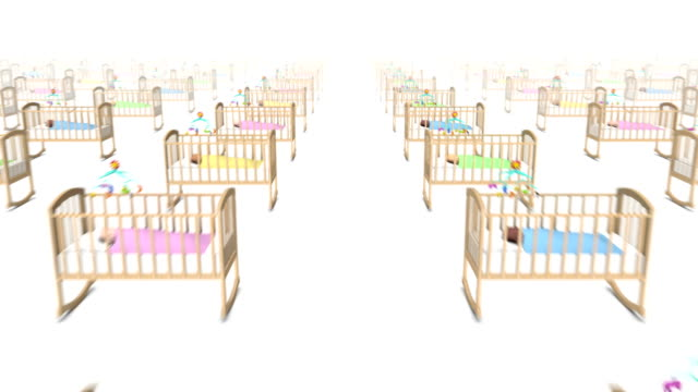 Dolly forward over many Cribs with Baby to none video