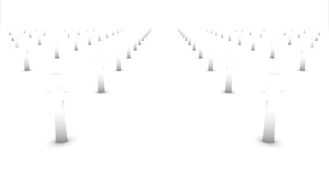 Dolly forward over many crosses to none (white) video