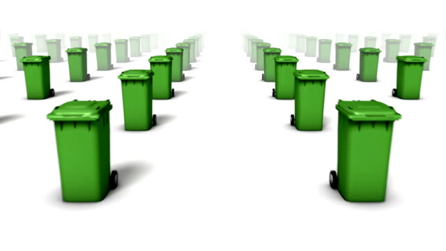 Dolly forward over many Trashcans to none (Green) video