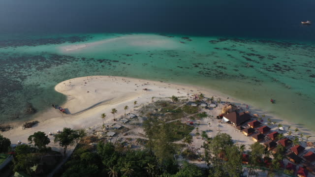 Dolly left aerial panoramic view Koh Lipe