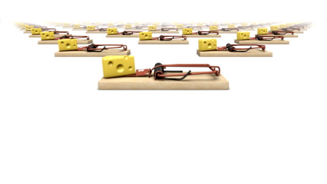 Dolly over many Mouse Traps to a single Trap video
