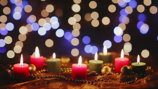 Dolly shot Christmas decoration on table with candlelight. Holiday backgrounds Dolly shot Christmas decoration on table with candlelight. Holiday backgrounds navidad stock videos & royalty-free footage