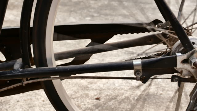 dolly shot close-up Retro style bicycle rear wheel video