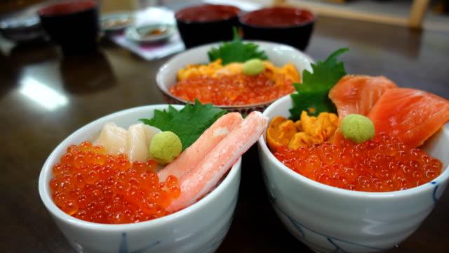 ドリー ショット丼刺身と日本食米 ビデオ
