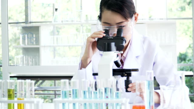dolly shot from front view: Mid female Japanese scientist doing her research on optical microscope