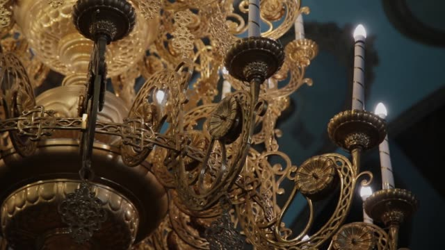 Dolly shot of a beautiful chandelier Dolly shot of a beautiful chandelier 19th century style stock videos & royalty-free footage