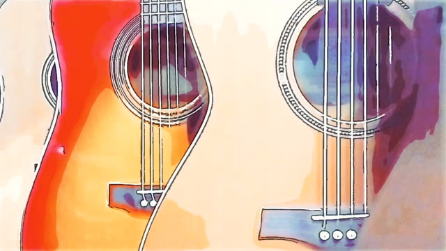 Dolly shot of classical guitars hanging on the wall, watercolor effect Dolly shot of classical guitars hanging on the wall. Watercolor effect painting art product stock videos & royalty-free footage