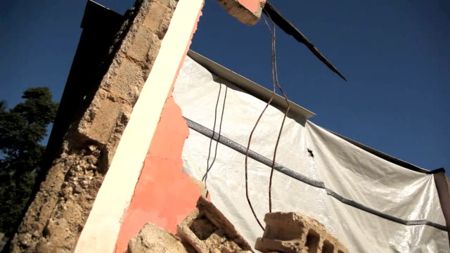 Dolly shot of earthquake rubble in Haiti. video