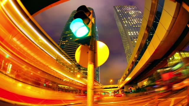 Dolly shot of Hong Kong at night.
