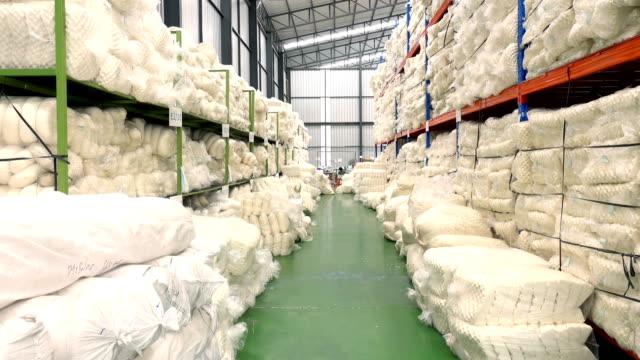 4K Dolly Shot Of Latex Pillow Warehouse
