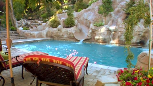 vídeos y material grabado en eventos de stock de dolly shot of a la piscina - backyard pool