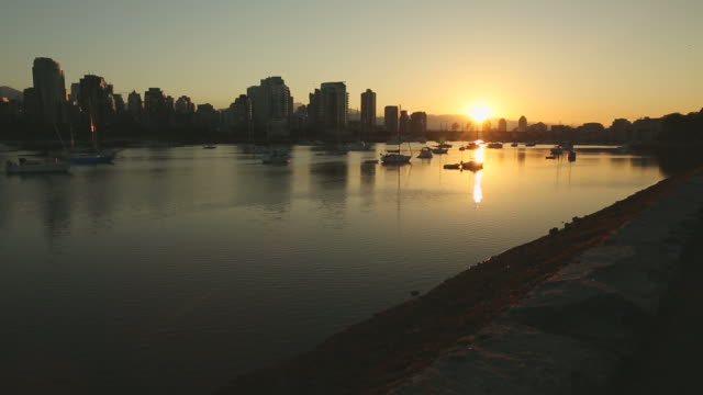 dolly shot Sunrise, False Creek, Vancouver video