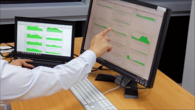 dolly atış: ağ mühendis izleme ve bul anormal rating - conspiracy stok videoları ve detay görüntü çekimi