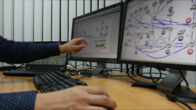 съёмка с операторской тележки: молодой инженер работы на компьютере с мониторами - conspiracy стоковые видео и кадры b-roll