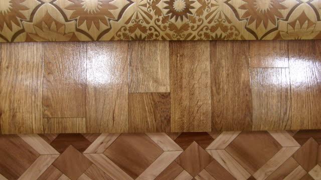 Dolly: Variety of linoleum in showroom of flooring store video