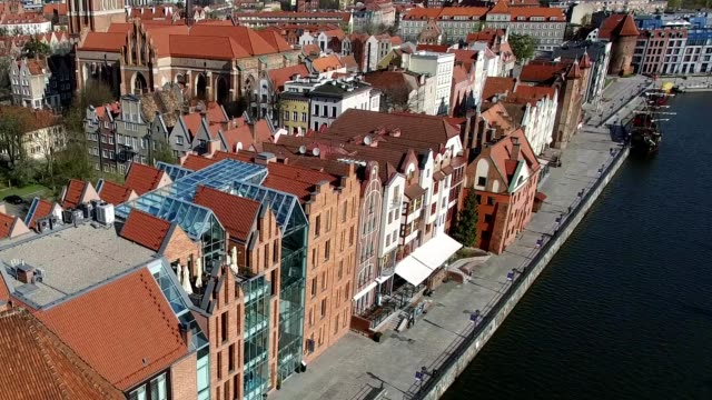 Dolly Zoom Aerial of Gdansk Old Town and Motlawa River video