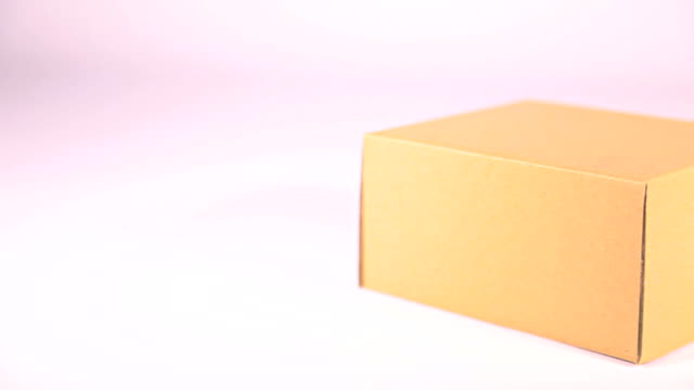 HD Dolly:Brown paper box on white background. video
