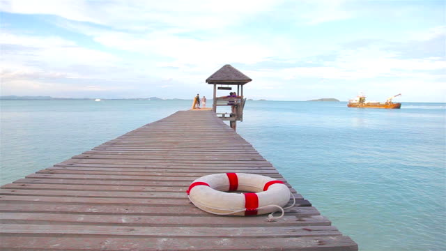 HD Dolly:Lifebuoy is placed on a wooden bridge. video