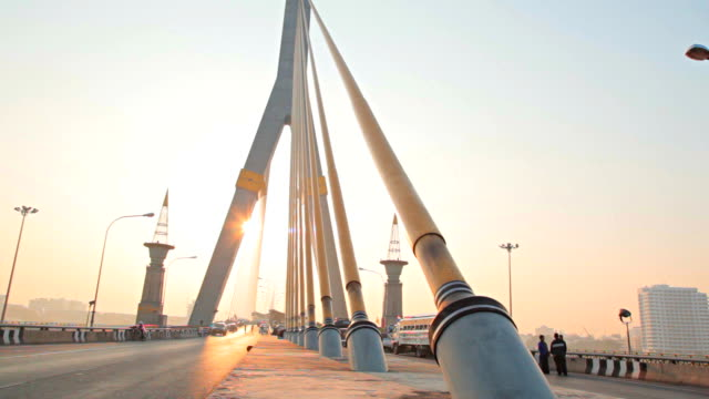 Dolly:Rama VIII Bridge in morning at bangkok city. video