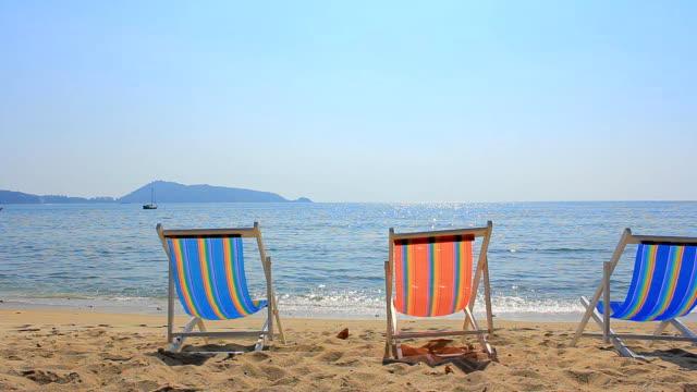 HD Dolly:Sun chairs on the Beach video