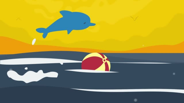 Dolphin Playing Ball Animation video
