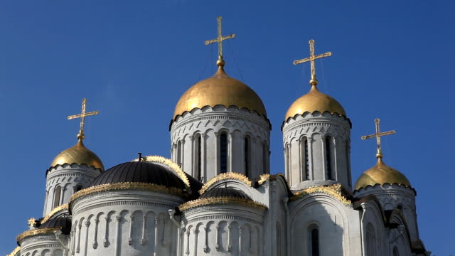 Domes of the Dormition Cathedral/ Vladimir. Russia video