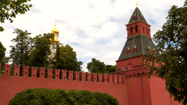 Domes of the temple behind the Kremlin wall video