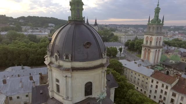 Dominican church in Lviv. Morning Roofs. Aerial Old City, Ukraine video