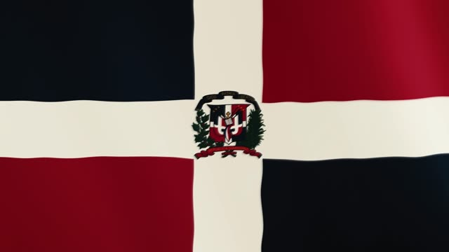 Dominican Republic flag waving animation. Full Screen. Symbol of the country video
