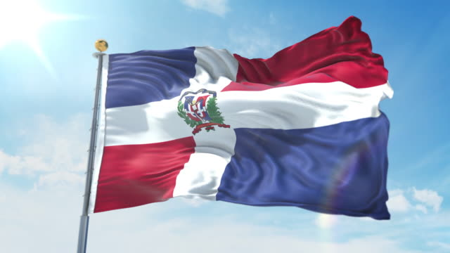 Dominican Republic flag waving in the wind against deep blue sky. National theme, international concept. 3D Render Seamless Loop 4K Dominican Republic flag waving in the wind against deep blue sky. National theme, international concept. 3D Render Seamless Loop 4K allegory painting stock videos & royalty-free footage
