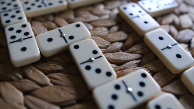 Domino Tiles on the Table After Finished Game of Dominoes