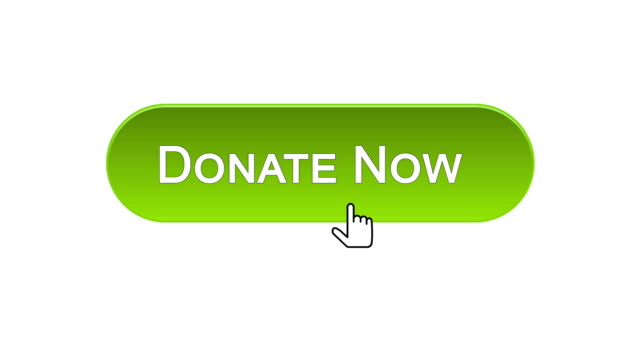 Donate now web interface button clicked with mouse, different color choice
