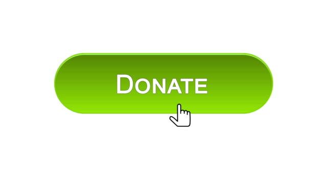 vídeos de stock e filmes b-roll de donate web interface button clicked with mouse cursor, different color choice - benefits