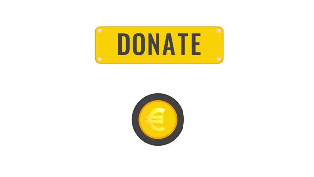 Donation button animation with changing currency symbols