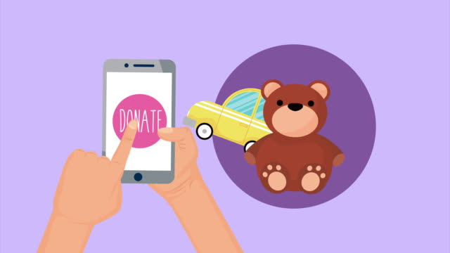 donation campaign for covid19 in smartphone with toys video