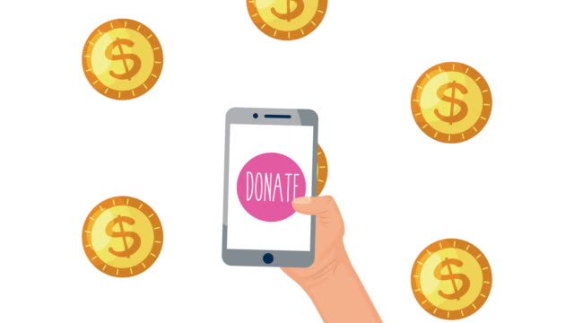 donation campaign for covid19 with coins and smartphone video