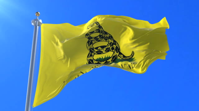 Don't Tread On Me Gadsden Flag waving at wind in slow with blue sky, loop video