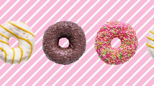 donuts colorful animation on pink white striped background - bombolone video stock e b–roll