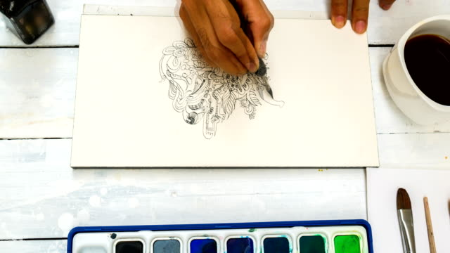 Doodle Line Art With Watercolor On Paper video
