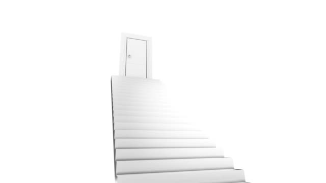 Door at the top of stairs. Open activity video