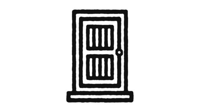 vídeos de stock e filmes b-roll de door icon animation footage & alpha channel - obras em casa janelas