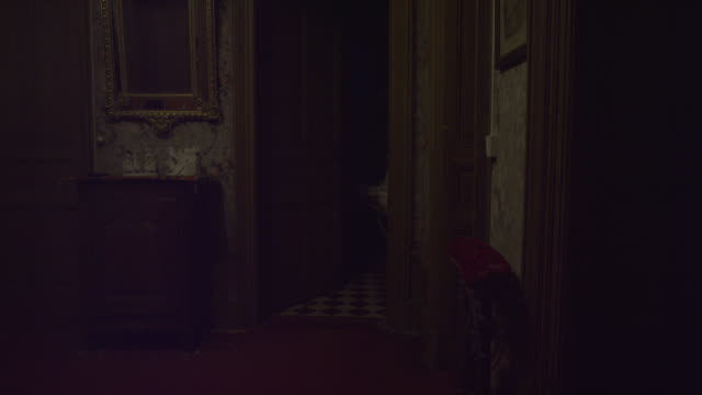 Door of old haunted bathroom opening itself in an abandoned house. Ghost, Spirit or Demon. Gold mirror on the side and old objects. Old chestnut wood and old scary wallpaper. Shot on RED EPIC 6K.