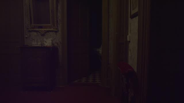 vídeos de stock, filmes e b-roll de porta do banheiro assombrado velho que abre-se em uma casa abandonada. fantasma, espírito ou demônio. espelho de ouro no lado e objetos antigos. madeira velha da castanha e papel de parede assustador velho. filmado em red epic 6k. - horror
