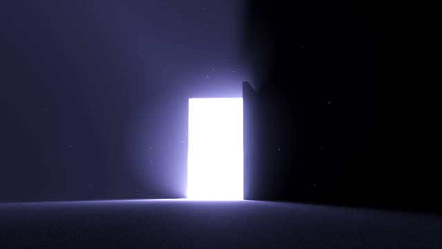 Door open to bright light cool blue new opportunity epiphany afterlife video